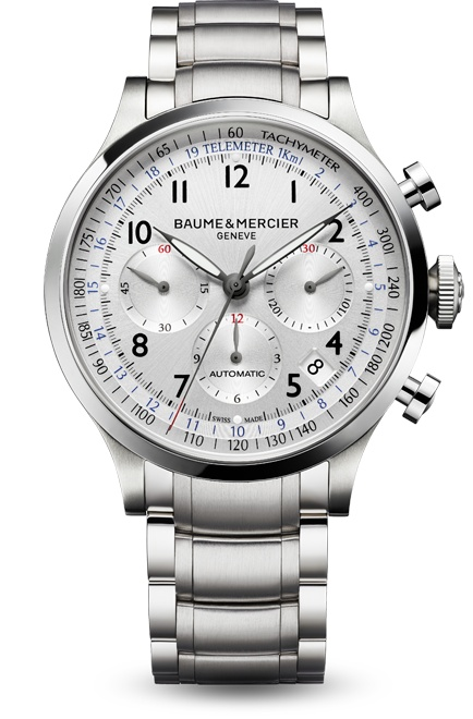 Capeland 10064 steel chronograph watch for men, designed by Baume et Mercier, Swiss Watch Maker.