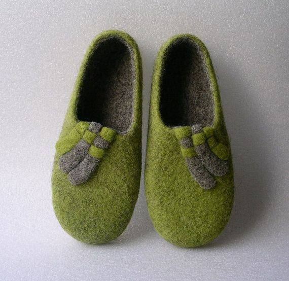 Handmade felted slippers / wool shoes / gift for women by Avalelis, $72.00