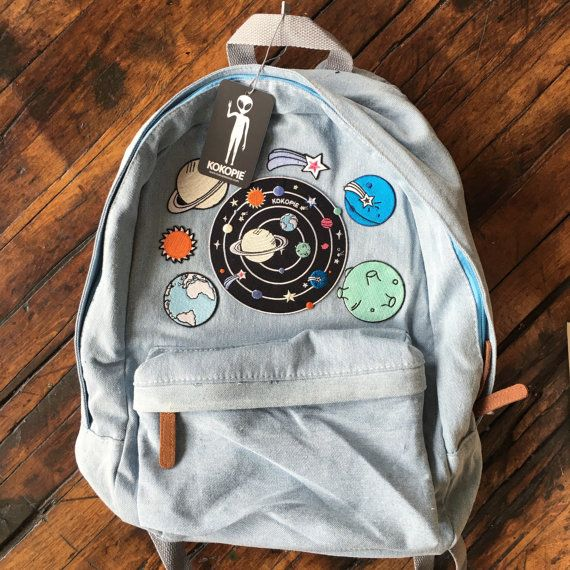 Outer Space alien 90s grunge denim backpack by Kokopiebrand