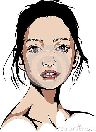 Elaborated Colored vector illustration of a blue-eyed woman who wears no make-up and is connected with the hair.