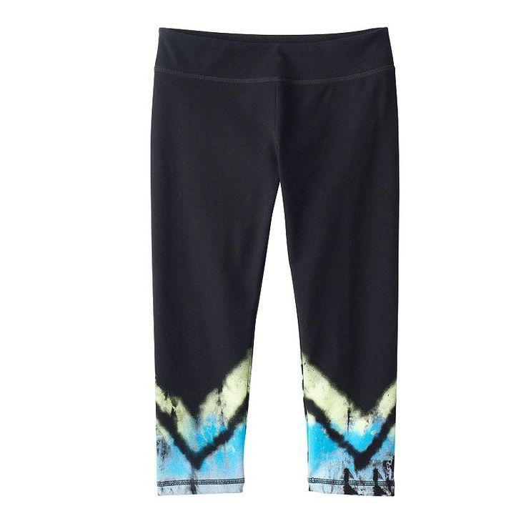 Girls 7-16 & Plus Size SO® Leg Graphic Capri Yoga Pants, Girl's, Size: 12, Turquoise/Blue (Turq/Aqua)