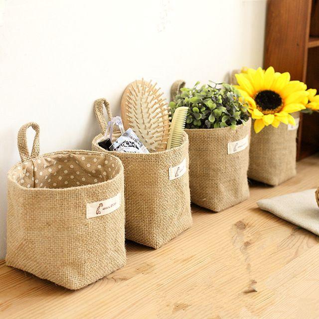 Général tissu art pot de fleur petit sac suspendus type sac en tissu, fleur panier, panier de rangement, suspendus sac