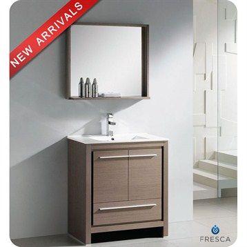 Fresca Allier 30 Gray Oak Modern Bathroom Vanity With Mirror Free Shipping