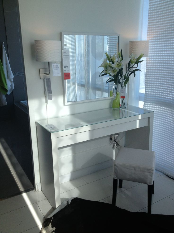 Malm Vanity table Ikea Makeup Vanity Ideas Pinterest Lighted mirror, Manicures and Vanities