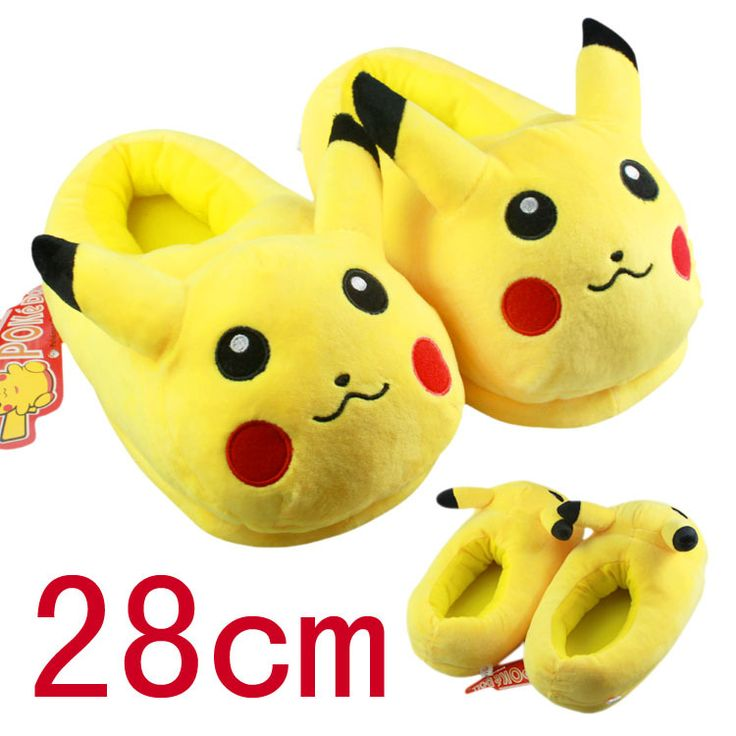 2016 Winter New Women and Men Shoes Fashion Casual Non-slip Pokemon Slippers Pokemon Cotton Slippers Pikachu Fluffy Slippers