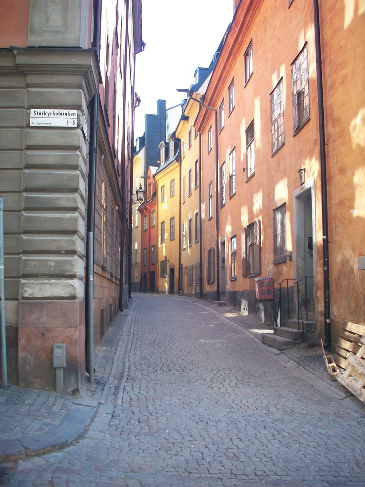 Beautiful, narrow, cobbled streets of Old Stockholm