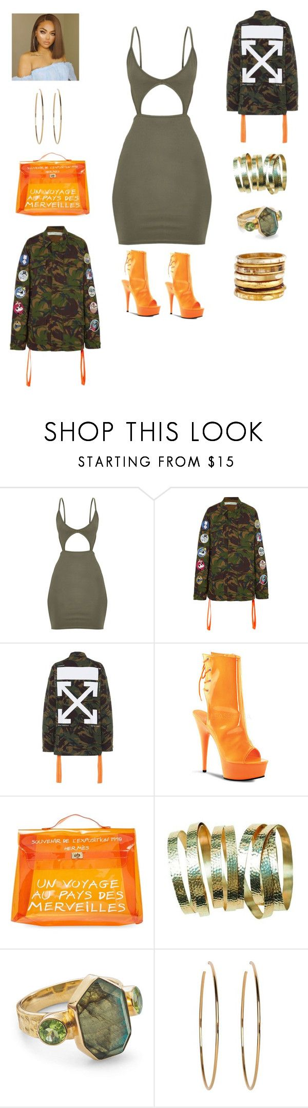 """Untitled #925"" by ericap61720 ❤ liked on Polyvore featuring Off-White, Pleaser, Hermès, Kenneth Jay Lane and Ashley Pittman"
