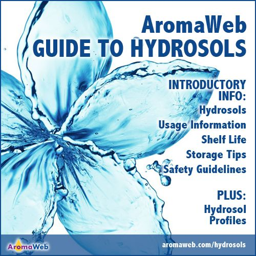 AromaWeb Guide to Hydrosols includes introductory information, storage information and an extensive directory of hydrosols profiles that include aromatic description, botanical name, common uses and shelf life.