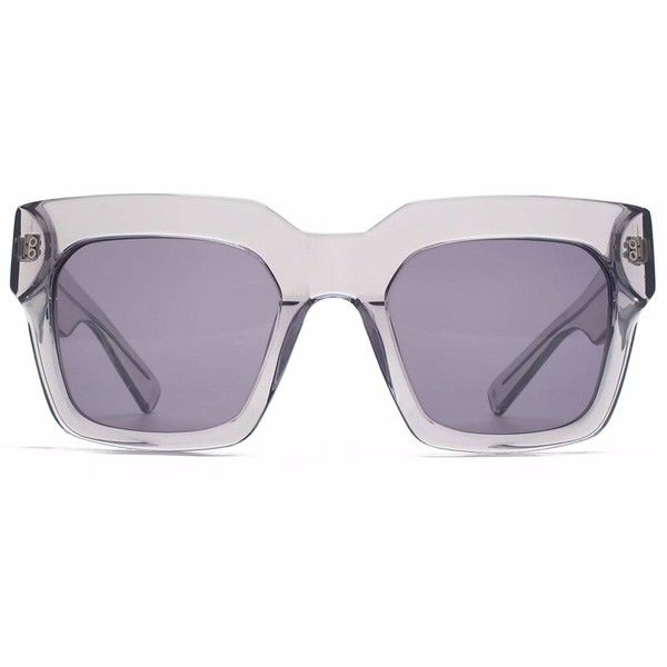 Hook LDN - Genesis Grey (630 SAR) ❤ liked on Polyvore featuring accessories, eyewear, sunglasses, square lens sunglasses, futuristic sunglasses, oversized sunglasses, square glasses and gray sunglasses
