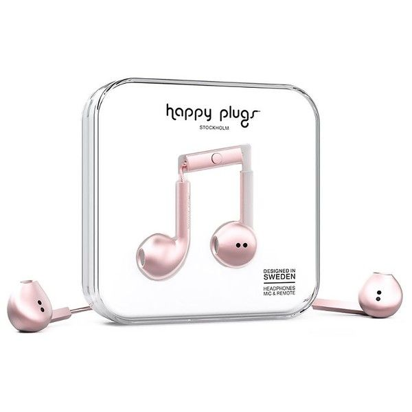 Happy Plugs Earbud Plus ($40) ❤ liked on Polyvore featuring accessories, tech accessories, headphones, pink gold, womens-fashion, headphones earbuds, earphones earbuds, rose gold headphones, happy plugs and earbud headphones