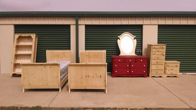 PRECIOUS(7) PIECE GIRLS BEDROOM SET INCLUDES SET OF (2) SLEIGH STYLE TWIN BEDS WITH MATTRESSES ADN SLATS, ONE BOOKSHELF, ONE NIGHT STAND, ONE MIRROR, ONE LONG DRESSER AND ONE TALL DRESSER WITH JEWELRY DRAWERS  THIS ITEM WAS DONATED BY DOUG AND MEREDITH AMENELL