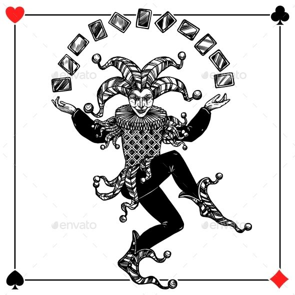 Joker Background Illustration by macrovector Joker card background with spades hearts diamonds and clubs flat vector illustration. Editable EPS and Render in JPG format