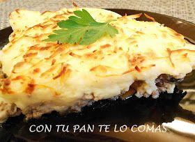 Pastel de Carne Molida, con pure de patatas.  Fácil y rico