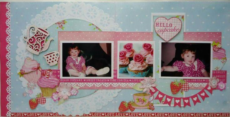 Jan Barletta, Scrapberries, scrapbooking, two page layout, double page, Tea Party,       Hello Cupcake, kaisercraft papers