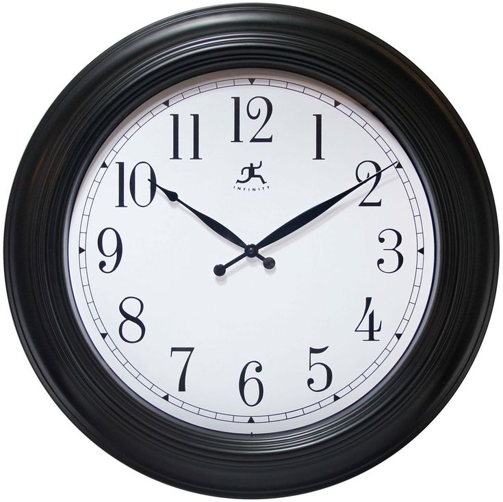 "Classic Wall Clock Free Shipping! 30-Day Money-Back Guarantee! 2-Year Manufacturer Warranty! This large wall clock features a black case white dial, and glass lens. Dial has contrasting black metal hands and large, easy to read, Arabic numerals. Requires 1 ""AA"" battery (not included). Weighs 4.3 lbs. Hand assembled. Quartz clock movements ensure reliability and trouble-free service. Includes 2-year manufacturer warranty. Requires 1 AA battery (not included). Classic Wall Clock D..."