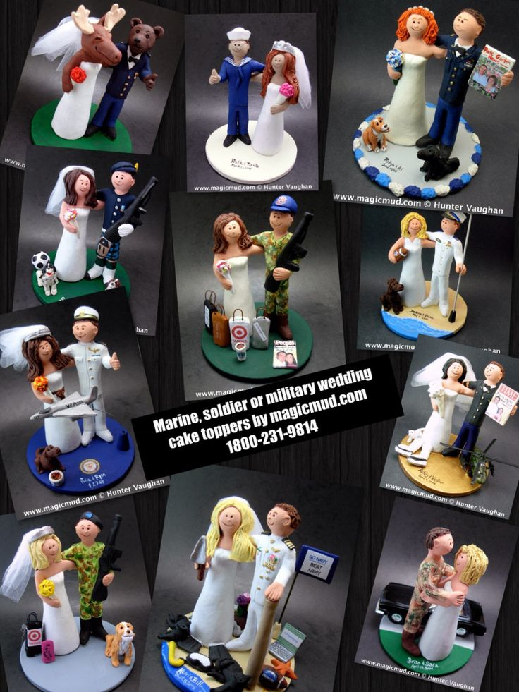 Military Wedding Anniversary CakeTopper, US Army Wedding Anniversary Gift,    Army, Soldier's, Military, Air Force, Navy Wedding Cake Toppers custom created for you! Perfect for the marriage of an Army Marine Groom and his Bride! Simply email or call toll free with your own info and pictures of yourselves, and we will sculpt for you a treasured memory from your wedding!    $235 #magicmud 1 800 231 9814 www.magicmud.com