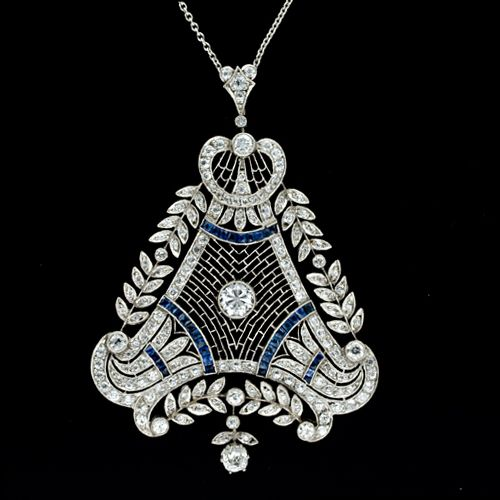 Edwardian Style Platinum Diamond and Sapphire Calibre Pendant From Lang Antique & Estate Jewelry