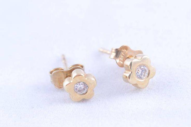 Bijuterii aur cercei cu zirconii model floricica