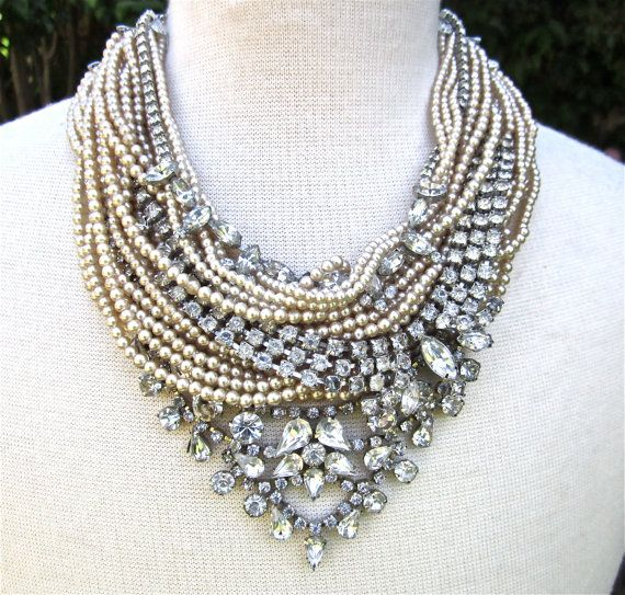 Chunky Rhinestone Necklace Pearl Bib Statement Necklace Bridal Rhinestone & Pearl (Tom Binns Inspired) Vintage Wedding
