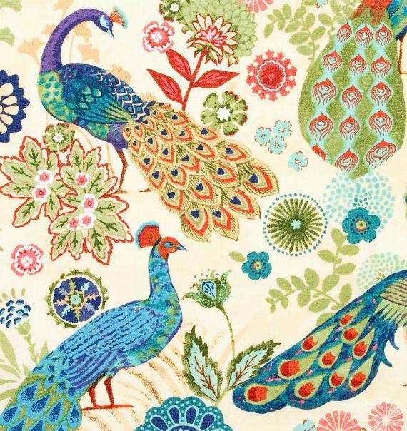 Peacock Fabric Shower Curtain, Bright Bird Bathroom Decor, Multi-Colored Shower Curtain, Teal Green Bathroom Accessory
