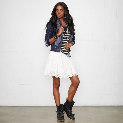 Ralph Lauren Denim & Supply Eyelet Ruched Miniskirt