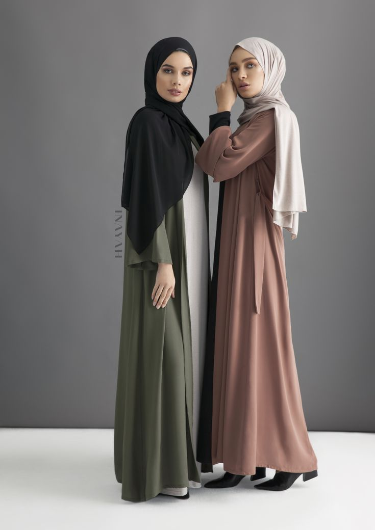 INAYAH | Khaki Georgette Kimono + Warm Mocha Georgette Kimono  Check out our georgette collection of hijabs http://www.lissomecollection.co.uk/Georgette-hijab-black