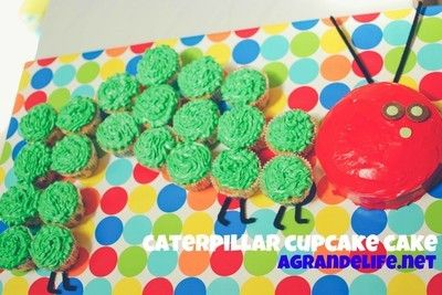 A Very Hungry Caterpillar Cake: Cakes Ideas, Birthday Parties, Caterpillar Cupcakes Cakes, Very Hungry Caterpillar, 1St Birthday, Parties Ideas, Caterpillar Cake, Caterpillar Cupcake Cakes, Birthday Ideas