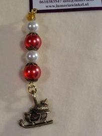 Rode kerstboom hanger met kristal en slede