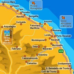 Kaart Adriatische Kust Le Marche italie