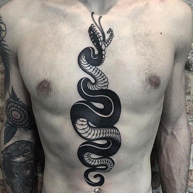 Black snake tattoo by Phatt German #Snake #Tattoo #Black