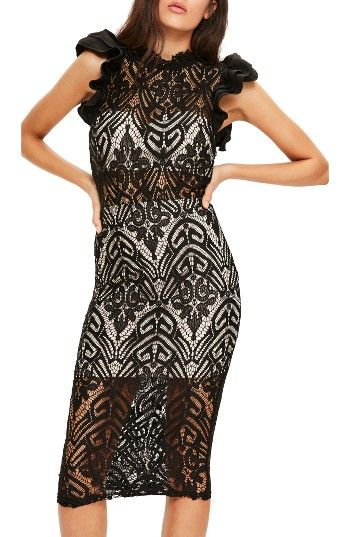 Missguided High Neck Lace Midi Dress at Nordstrom.com. Dramatic, romantic and totally ready to party, this sheer lace midi dress has a slim silhouette and plenty of ruffles.