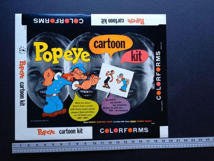Large Vintage Colorforms Printer's Proof- Popeye Cartoon Kit #2110- Scarce 1957 #Colorforms