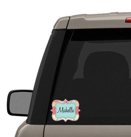 Monogram car window decal, Chevron and floral pink blue, Customized stickers, Monogram sticker for women, Vinyl decals for your auto (1386) by TGTLdecals on Etsy