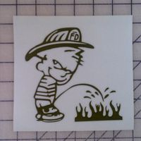 Fire Fighter Calvin Pee on Flames Decal http://www.customsense.com/fire-fighter-calvin-pee-on-flames-decal-p-20.html