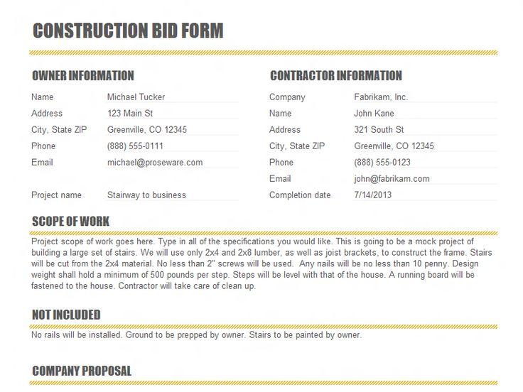 Las 25 mejores ideas sobre Construction Bids en Pinterest - construction proposal template word