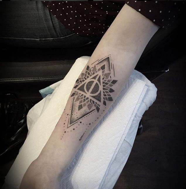 Geometric Mandala Harry Potter Hallows Tattoo
