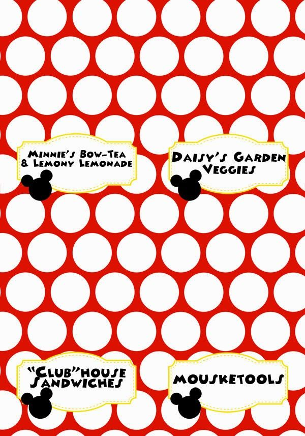 Mickey Mouse Clubhouse Party Free Printables (Food Labels - Link to blank labels included)