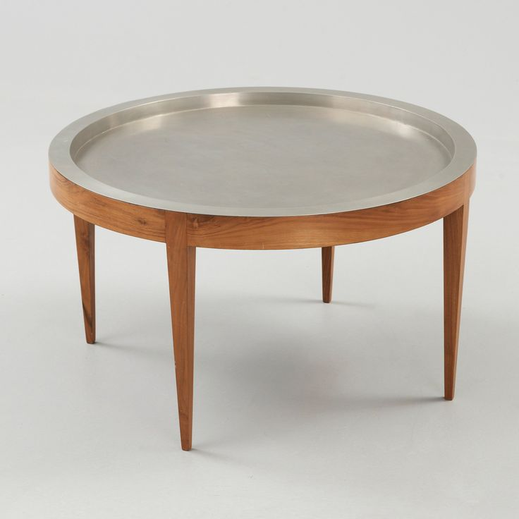 Josef Frank; Walnut and Pewter Table for Svenskt Tenn, 1960s.