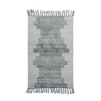 Teppet Karma fra det danske varemerket House Doctor er et tynt teppe som skaper en trivelig og ombygd sjarme i hjemmet. Teppet har en base i en gråblå fargeskala, har et grafisk mønster i ulike størrelse og med franser på hver kant. Teppet finnes tilgjengelig i flere størrelser. Hvilket passer ditt hjem best.