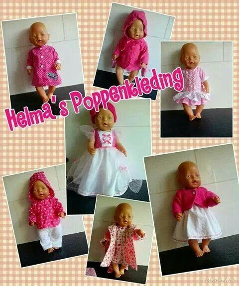 Poppenkleertjes gemaakt. Deze zijn geschikt voor o.a. de babyborn van 43cm. Prinsessenjurk, nachthemd, ochtendjas, vestje, blouse etc. Neem ook eens een kijkje op mijn fb pagina: Helma's Poppenkleding