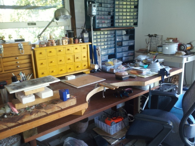 Jewelry bench, NOTICE THE HIGHER STAND UP DESK AND ACID POT.