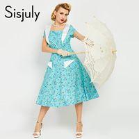 Sisjuly vintage женщины платья 1950 s стиль цветочный печати a-line с коротким рукавом 50 s летнее платье белый мода элегантные ретро платья
