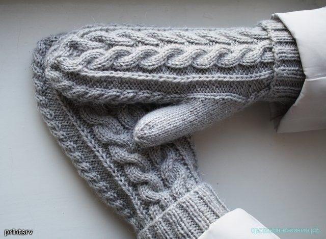 Вязание спицами варежек. Как связать варежки спицами. Схема вязания варежек.