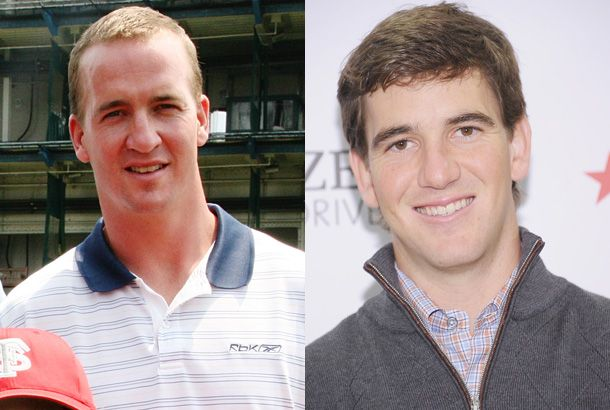 Peyton and Eli Manning, the sons of New Orleans Saints star Archie Manning.  Both brothers also have Super Bowl rings, they appear regularly in commercials, charity specials, and TV shows.