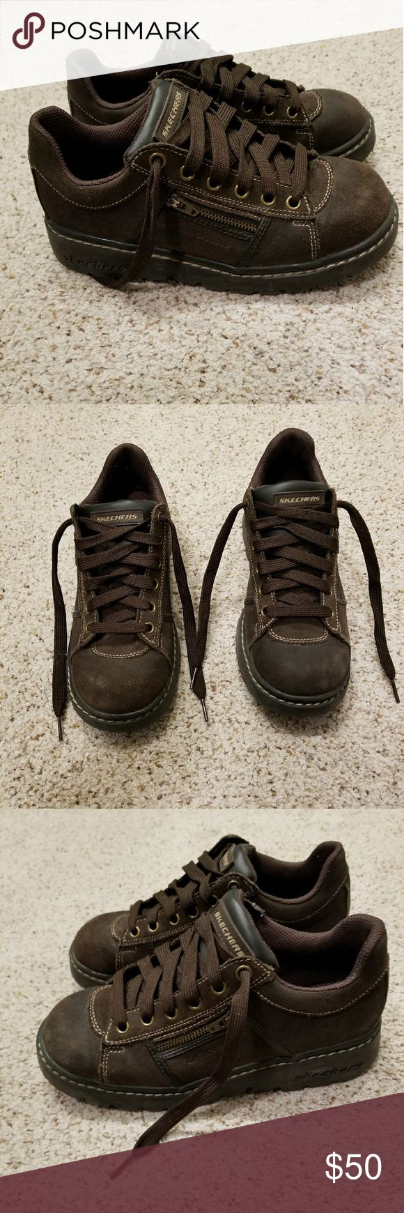 Skechers lace up sneakers Good condition brown lace up skechers shoes. Slight wear in toe area as can see in pictures but not that bad. Still have a lot of life in them. Cute side zipper detail. Skechers Shoes