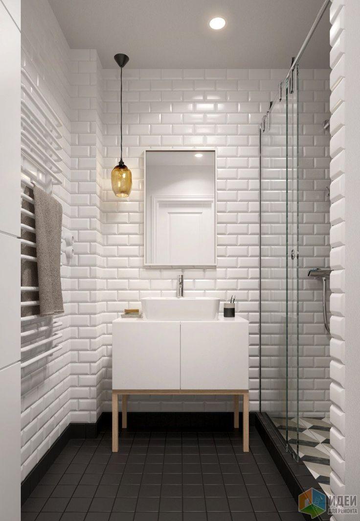 Интерьер в скандинавском стиле, отделка стен кирпичики, дизайн ванной комнаты