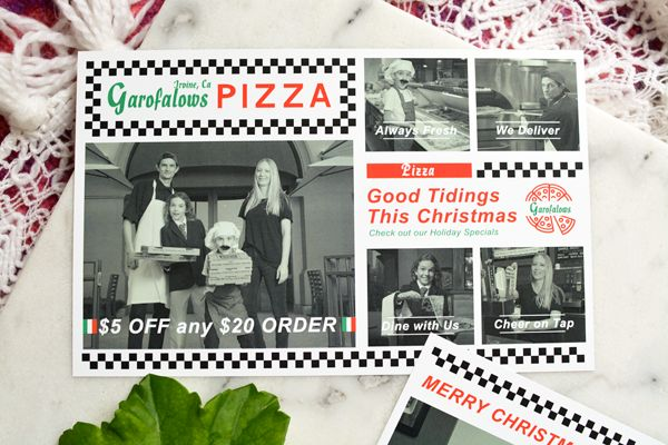 Every year we create themed family Christmas cards. It has become our tradition. But this year, we shot it on site at a local pizza place!