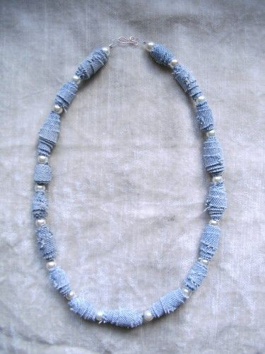 Fabulous DENIM Fiber Bead necklace One of a Kind 24.00