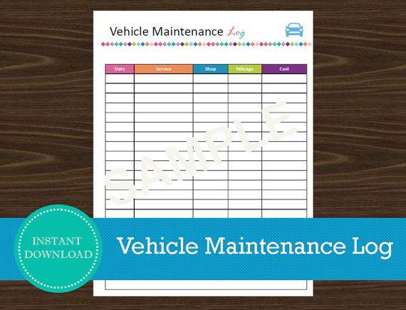 Vehicle Maintenance Log Organizer Road Trip Planner