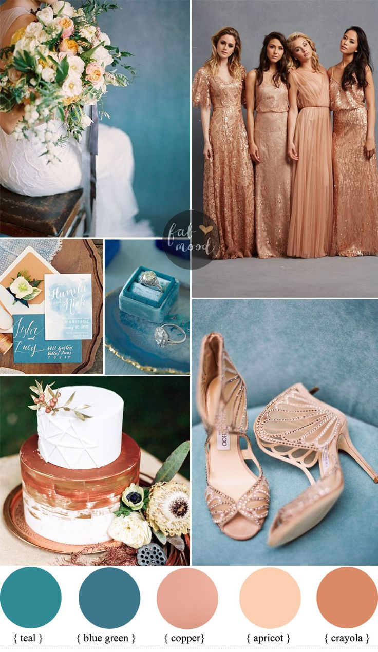Teal and Copper Wedding color ideas , #teal wedding invitation  + Copper Bridesmaids Dresses | Fab Mood #tealwedding #copper